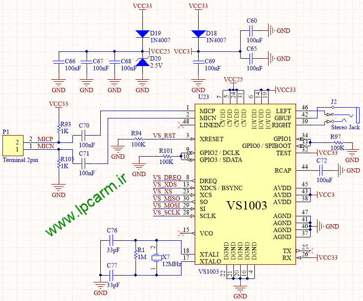 VS1003 Schematic