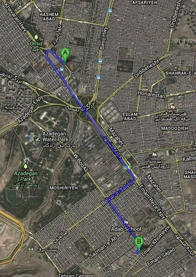 موقعیت مرکز شهید چمران در نقشه | LPCARM